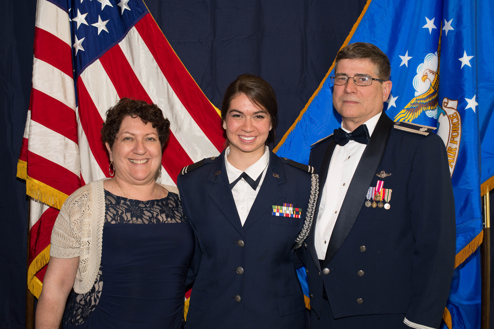 Ms. Sarah Aravich and her parents, Air Force Ret. Lt Col Karen Aravich and Air Force Ret. Lt Col Donald Aravich.